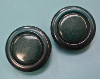 Lot of 4 thick larger vintage 1960s unused round translucent and opaque dark forest green plastic buttons with selfschranks
