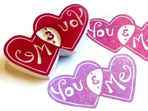 You and Me Heart Rubber Stamp Hand Carved, For Your Valentines Day Card, Valentines Day And Anniversary Wrapping Paper, Wedding Envelopes