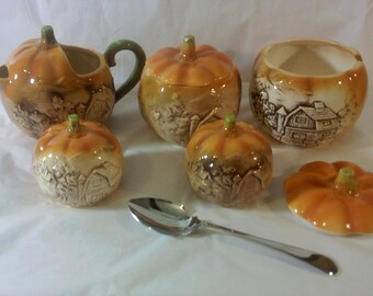 FREE SHIPPING vintage pumpkins creamer sugar salt and pepper set fall Autumn Halloween