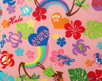 Kawaii Anime Hawaiian Fabric in Aloha Honu, Japanese Canvas in Pink