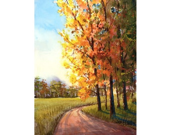 Watercolor landscape Painting PRINT country road fall trees 4 four seasons Landscape lane forest autumn colors 7x10 GICLEE