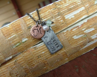 And So It Begins Custom Hand Stamped Aluminum with Copper Mommy And Family Necklace with Pearl and Peruvian Blue Quartz  by MyBella