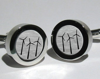 Wind Turbine,Wind Mill,Wind Energy,Alternative Energy,Sustainable Green Energy Mens Silver Leaf Cufflinks,Gift for men,Grooms gift,Mens gift