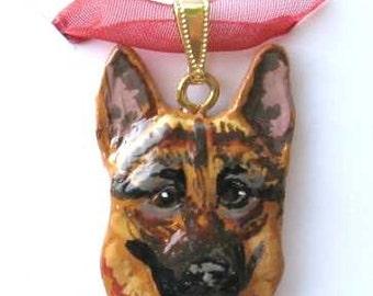 Dog Breed GERMAN SHEPHERD Handpainted Clay Necklace/Pendant