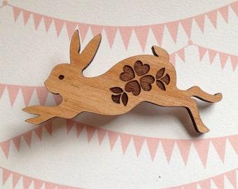 Run, Rabbit, Run - Sweet Laser cut Bunny with Flower design wooden brooch