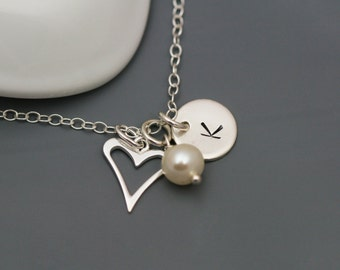 Initial Charm, Heart and Pearl Necklace in Sterling Silver - Personalized necklace