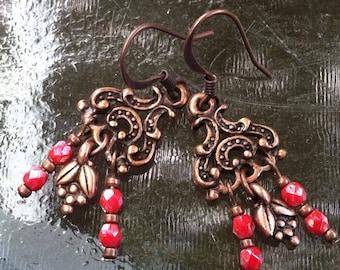Copper & Coral Czech Glass Chandelier Earrings