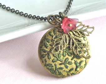 Leaf Locket Necklace - Patina, Flower