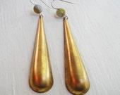 Golden Teardrops - Vintage Brass Drop Earrings with Labradorite - Circa Series