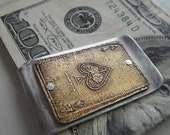 Ace of Spades Etched Money Clip -- Acid Bath Series