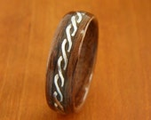 Bentwood Mens Ring Walnut with Rope Braid Sterling Silver inlay