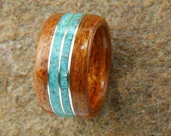 Bentwood Ring  Brazilian Cherry with Turquoise and Triple Sterling Silver Wire Inlay