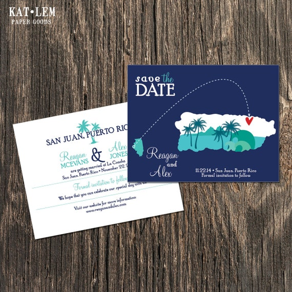 Puerto Rico Wedding Save The Date By Katleminvitations On Etsy