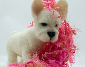 Needle Felted French Bulldog Puppy Free Shipping Soft Sculpture Wool Felted Dog Miniature Dog