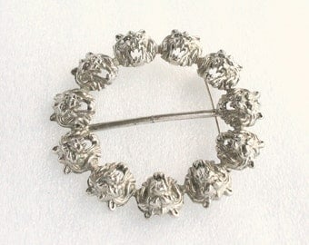 Roaring Lions Sash Pin Circle Vintage Brooch Antiqued Silvertone Belt Buckle Scarf Pin