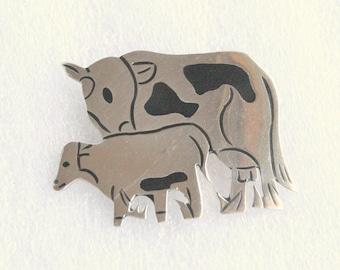 Vintage Sterling Cow Brooch Vintage Black Enamel Sterling Silver Cow Calf Figural Pin