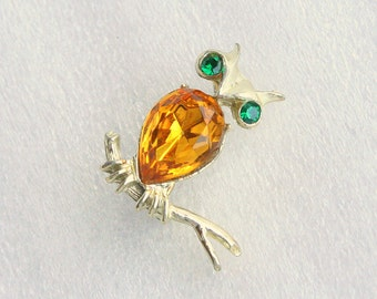 Citrine Rhinestone Owl Brooch Vintage Signed Dodds Amber Yellow Bird Figural  Pin