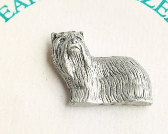 Yorkshire Terrier Dog Pin Vintage Figural Pewter Tie Tac Pin Brooch