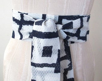Obi Sash Bow Belt in Navy Blue and White Nautical Geometric Print - made to order