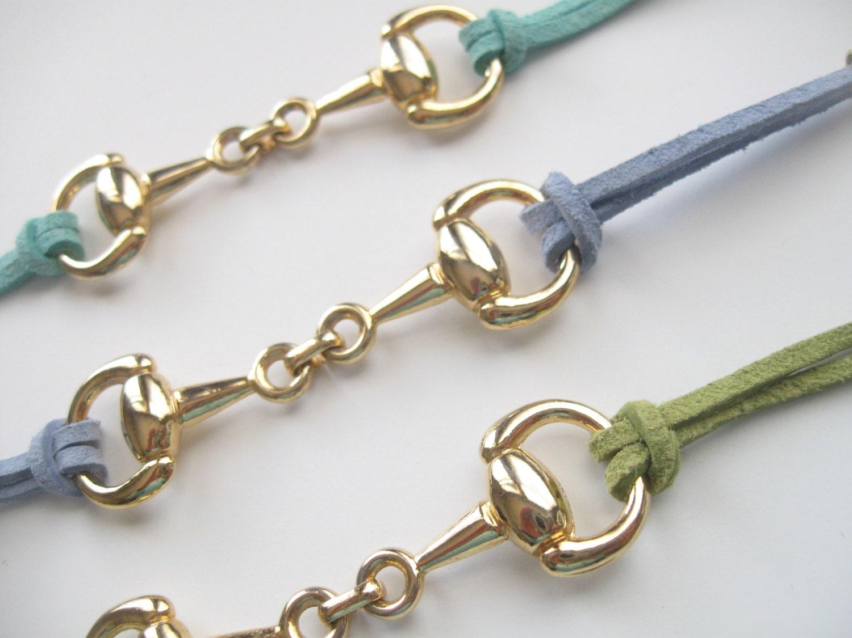 gold horsebit suede bracelet