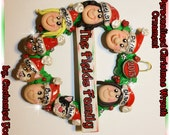 8 PEOPLE OR PETS, Christmas Wreath Ornament, Personalized, Family