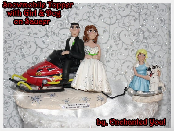 Snowmobile Wedding Cake Topper With Child And Pet On Saucer