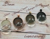 10pk... Circle Pendant Trays...with Glass Inserts ....Size 25mm...Mix and Match