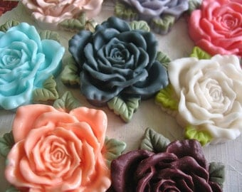 4pc..40mm Resin Rose Flower Cabochon...Assorted Colors...Great for necklace settings, pendant and bezel trays