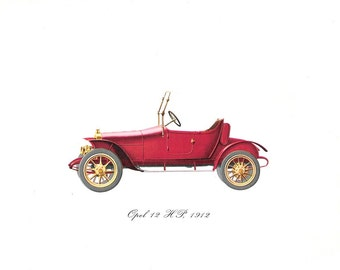 Old Vintage Color Car Print of a 1912 Opel 12