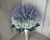 Dried flower Bridal  bouquet featuring dried Lavender and Babies Breath.  With a twine covered handle.  Simple and Elegant.