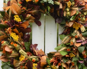 "Fall Harvest Wreath, 26"", Large Fall Wreath, preserved wreath,  fall wreath, purple, harvest, autumn wreath, fall decor, Thanksgiving Wreath"