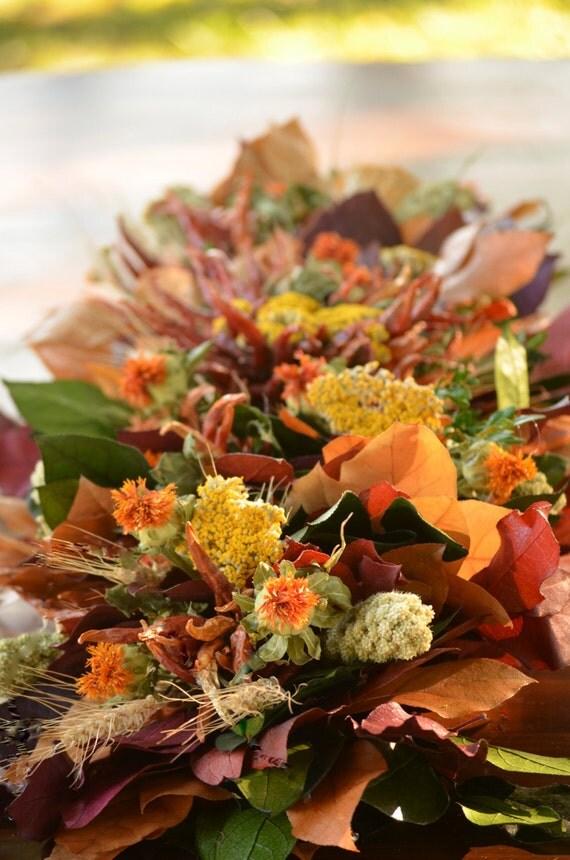 Fall harvest centerpiece mantel arrangement salal
