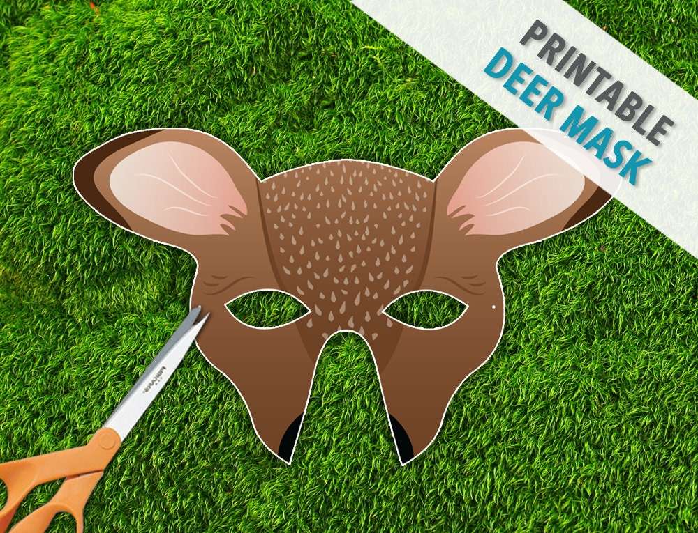 printable mouse mask template - deer mask doe mask halloween printable photo booth prop