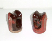Vintage Ceramic Insulators - Electric Fence Insulators - Salvaged Hardware - Farm Fence Insulators - Old Ceramic Electric Insulators