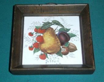 Vintage Tile Picture - Framed Fruit Picture - Ceramic Tile Wall Hanging - Fruit Tile Wall Decor - Framed Tile - Kitchen Decor