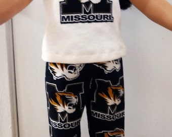 "Mizzou doll pants + top set, 18"" American Girl doll, AG doll lounge set, 15"" waldorf doll clothes, pajama, Bitty Twin, Bitty Baby, jammies"