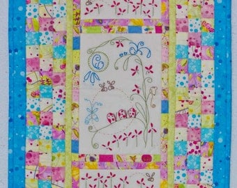 """Embroidered Quilt Wall Hanging - 16"""" x 25"""""""