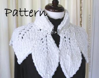 PDF, Leaf Capelet PDF, Knitting Pattern, Original Design