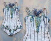 vintage 50s Showgirl Costume - Burlesque Dance Costume - Blue Sequin Romper Sz XS
