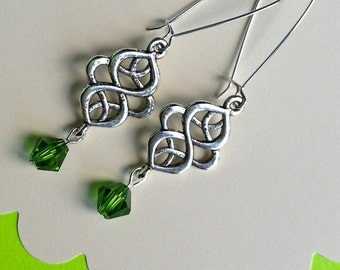 CELTIC IRISH EARRINGS, Celtic swirl, St. Patrick's Day, green crystals, French ear wires