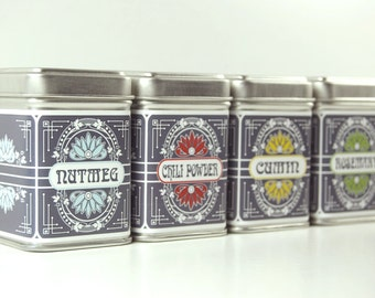 Customized Art Nouveau inspired Spice Tins - set of 6
