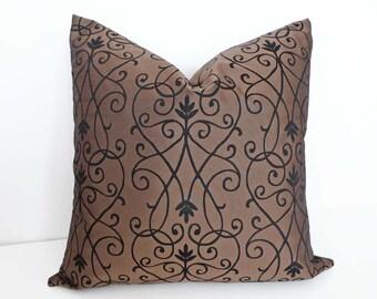 Brown Black Accent Pillow, Brown Throw Pillow, Black Brown Pillow, 12x18, 18, 20, Contemporary Pillow, Scrolls Pillow, Sofa Pillow Cover