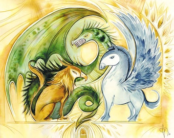 the gatekeepers- griffin, pegasus, wyvern watercolor print