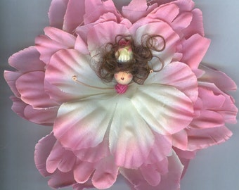 Deluxe Brunette Flower Fairy with Pink and White Petals