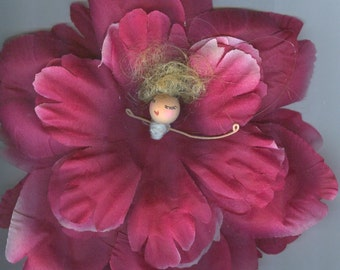 Deluxe Blonde Flower Fairy with Dark Pink Rose Petals