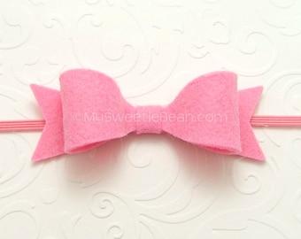 Hot Pink Felt Headband, Felt Bow Headband, Newborn Baby Headband 85 colors, Toddler Headband for Girls, Babies, Flamingo Pink