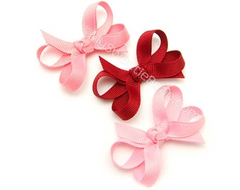 Mini Hair Bows, 2 inch Boutique Bows for Babies, Pink Bows Set of 3, Baby Snap Clips, Infant Hair Bows, Old Rose, Cranberry,  Rose Pink