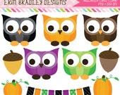 Halloween Pumpkin Owls Clipart Clip Art Personal & Commercial Use Instant Download