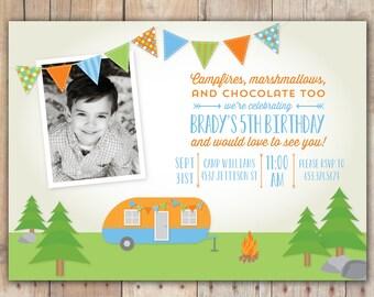 Retro Camping Trailer - Custom Photo Birthday Invitation for any age Boy