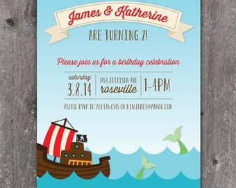Mermaid Pirate Party - Custom DIGITAL Birthday Party Invitation Invite for ANY AGE